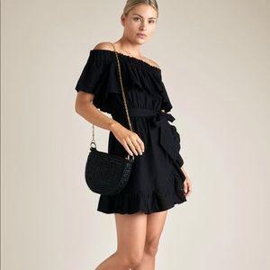 SEED HERITAGE black off shoulder drill dress Size6